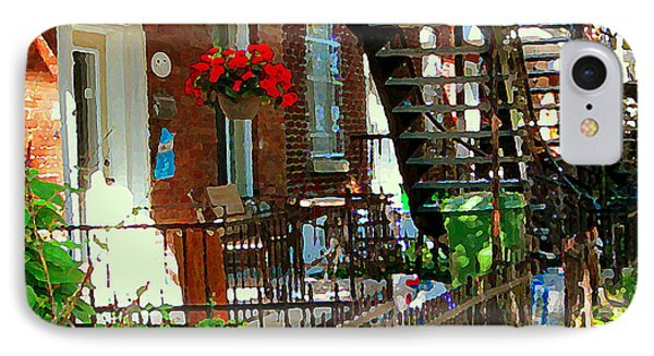 Red Geraniums Verdun Winding Staircases Hanging Flower Basket Montreal Porch Scene Carole Spandau IPhone Case by Carole Spandau