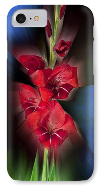 IPhone Case featuring the photograph Red Gladiola by Mark Greenberg