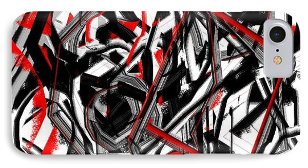 Red Gray And Black Abstract On White Background IPhone Case by Jessica Wright