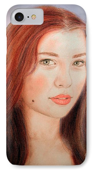 Red Hair And Blue Eyed Beauty With A Beauty Mark II IPhone Case by Jim Fitzpatrick