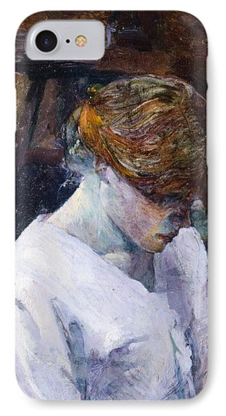 Red-haired Woman In White Camisole IPhone Case by Henri de Toulouse Lautrec