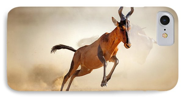 Red Hartebeest Running In Dust IPhone Case by Johan Swanepoel
