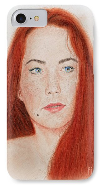 Red Headed Beauty IPhone Case by Jim Fitzpatrick