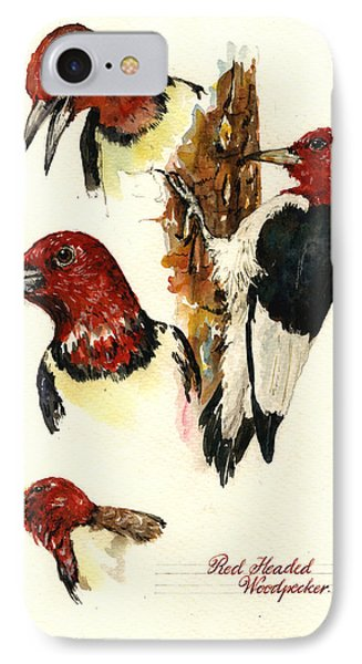 Red Headed Woodpecker Bird IPhone Case by Juan  Bosco
