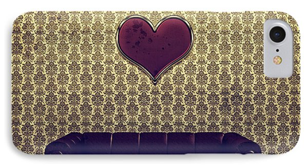 Red Heart And Purple Couch In A Gold Victorian Room IPhone Case by Beverly Claire Kaiya