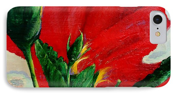 Red Hibiscus IPhone Case by Jean Cormier