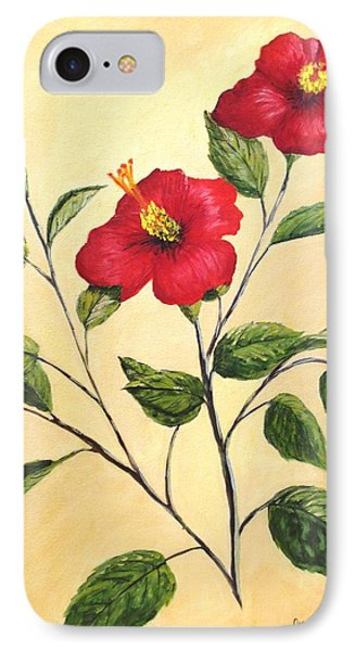 IPhone Case featuring the painting Red Hibiscus by June Holwell