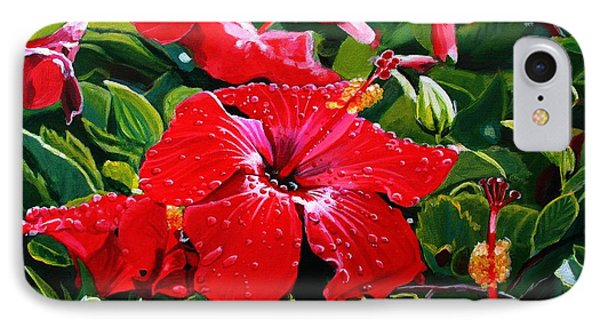 Red Hibiscus IPhone Case by Marionette Taboniar