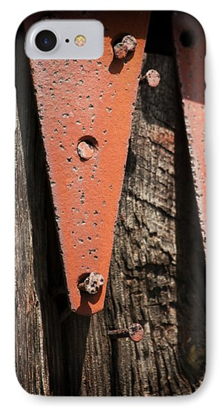 Red Hinges On Weathered Wood IPhone Case by Rebecca Sherman