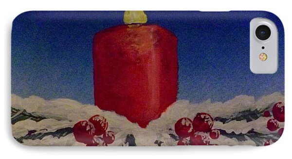IPhone Case featuring the painting Red Holiday Candle by Darren Robinson