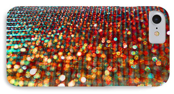Red Hot Bokeh Bling IPhone Case by Debbie Portwood