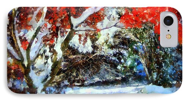 Red Japanese Maple In Snow IPhone Case by Janine Riley