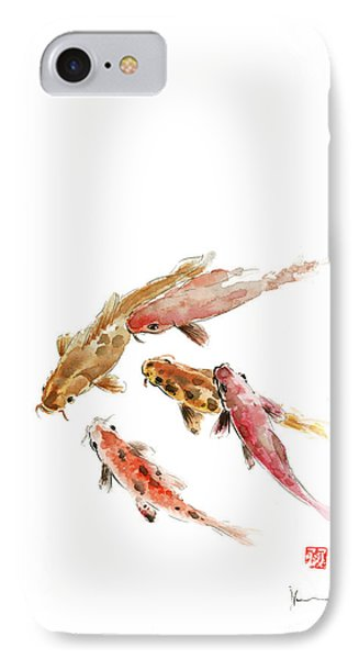 Red Koi Fish Fishes Orange Tangerine Caramel Brown Zodiac Pisces Watercolor Painting IPhone Case by Johana Szmerdt