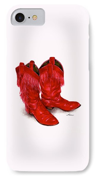 Red Leather Fringed Cowboy Boots IPhone Case by Nan Wright