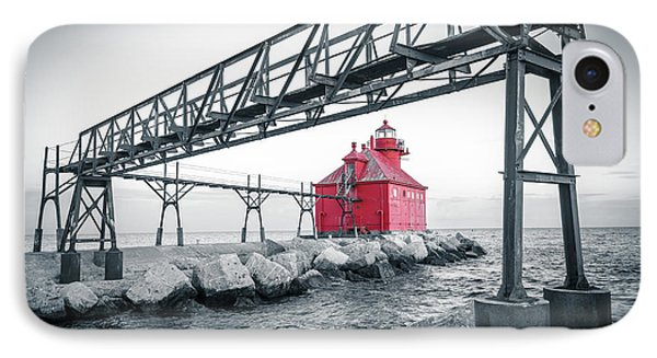 Red Light On Lake Michigan IPhone Case by Mark David Zahn