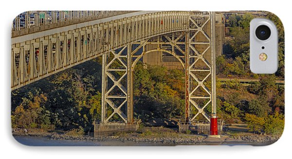 Red Lighthouse And Great Gray Bridge IPhone Case by Susan Candelario