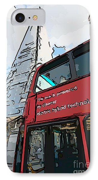 Red London Bus And The Shard - Pop Art Style IPhone Case by Ian Monk