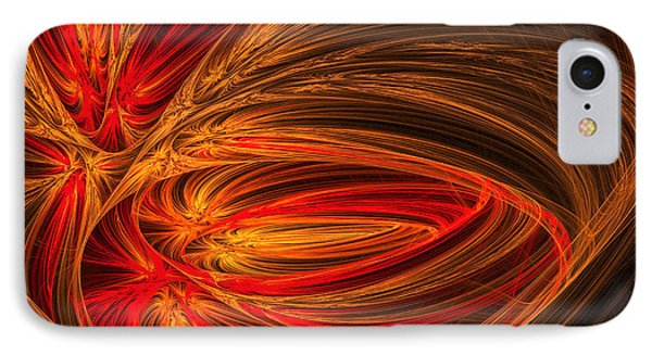 Red Luminescence-fractal Art IPhone Case by Lourry Legarde