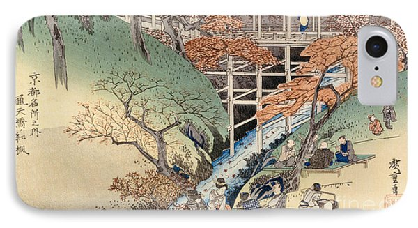 Red Maple Leaves At Tsuten Bridge IPhone Case by Ando Hiroshige