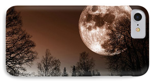 Red Moon Rise IPhone Case by Christian Lagereek