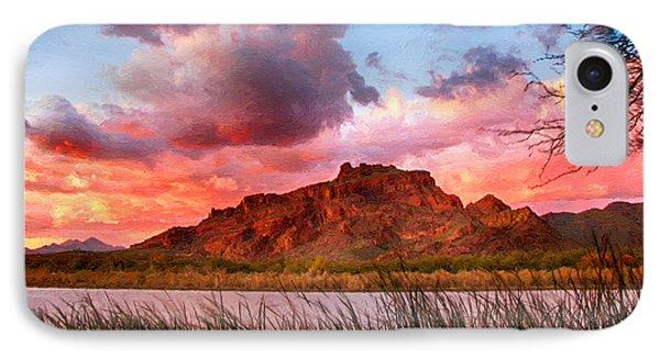 Red Mountain Sunset IPhone Case by John Haldane