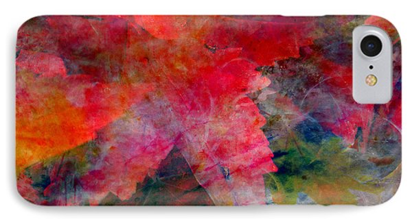 IPhone Case featuring the painting Red Nature Abstract Autumn Leaf by John Fish