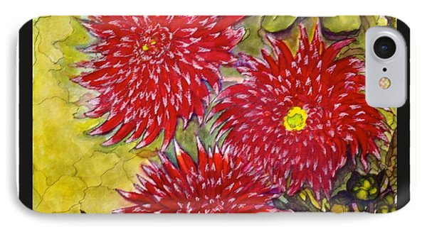 IPhone Case featuring the painting Red N'white Mums by Rae Chichilnitsky
