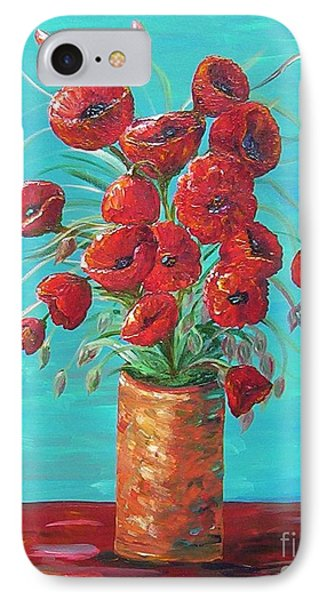 IPhone Case featuring the painting Red On My Table  by Eloise Schneider