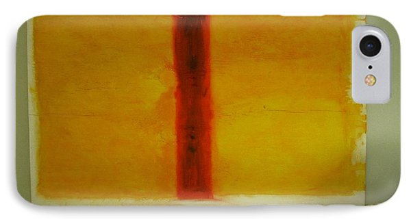 IPhone Case featuring the painting Red  On Yellow by Phoenix De Vries