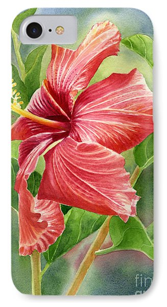 Red Orange Hibiscus With Background IPhone Case