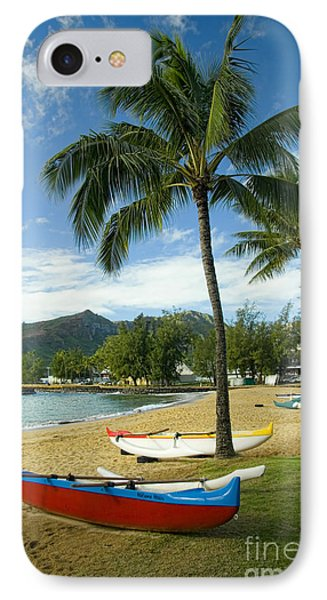 Red Outrigger Canoe In Kauai IPhone Case by David Smith