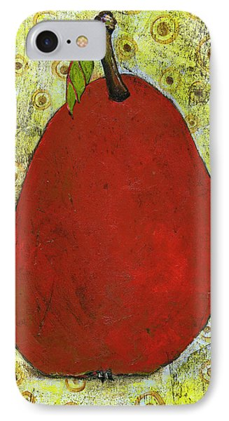 Red Pear Circle Pattern Art IPhone Case by Blenda Studio