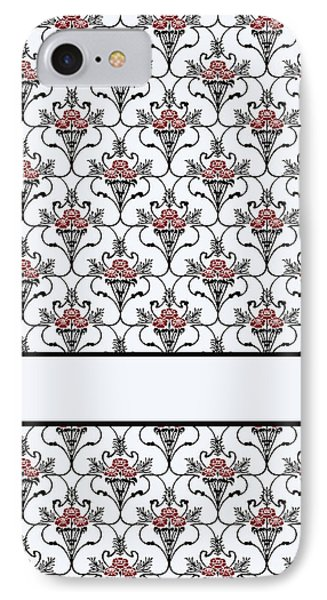 Red Peony Damask IPhone Case by Jenny Armitage