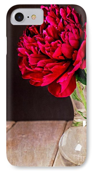 Red Peony Flower Vase Phone Case by Edward Fielding