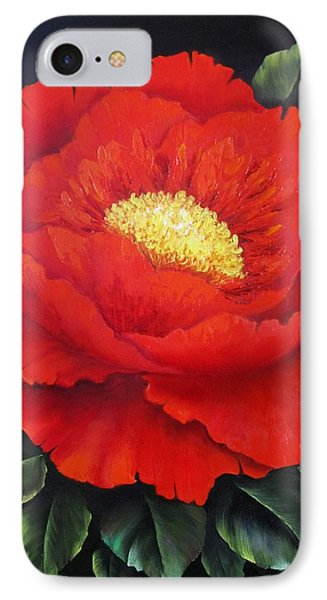 Red Peony IPhone Case by Katia Aho