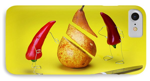 Red Peppers Sliced A Pear Phone Case by Paul Ge