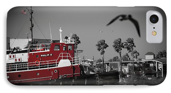Red Pop Tugboat IPhone Case by Bartz Johnson