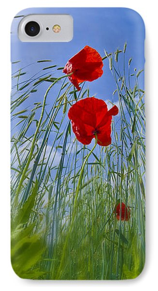 Red Poppies And Blue Sky Phone Case by Melanie Viola