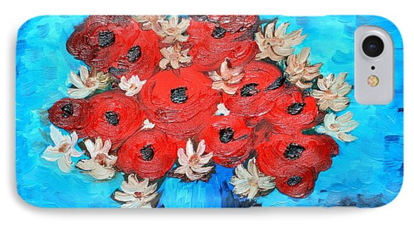 Red Poppies And White Daisies Phone Case by Ramona Matei