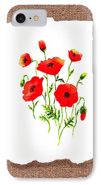 Red Poppies Decorative Collage IPhone Case by Irina Sztukowski