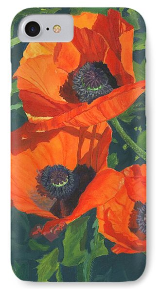 IPhone Case featuring the painting Red Poppies Three by Lynne Reichhart