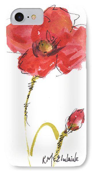 Red Poppy And Bud IPhone Case by Kathleen McElwaine