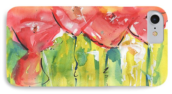 Red Poppy Party IPhone Case by Kathleen McElwaine