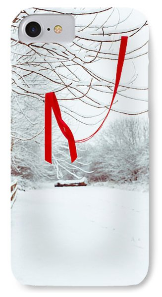 Red Ribbon In Tree Phone Case by Amanda Elwell