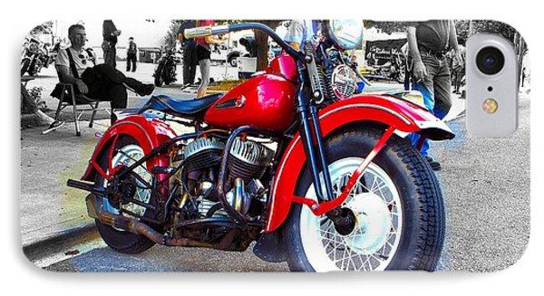 Red Rider On Black IPhone Case by Jeff Kurtz