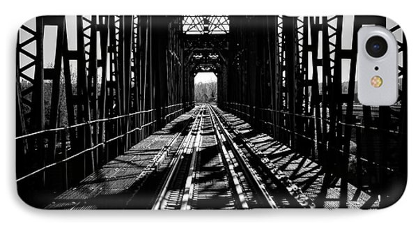 Red River Rail Road Crossing In Bw IPhone Case by Diana Mary Sharpton