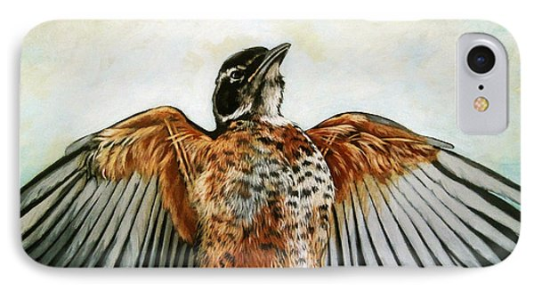 Red Robin Bird Realistic Animal Art Original Painting IPhone Case by Linda Apple