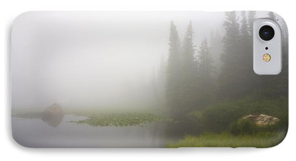 Red Rock Lake And Fog IPhone Case by Morris  McClung