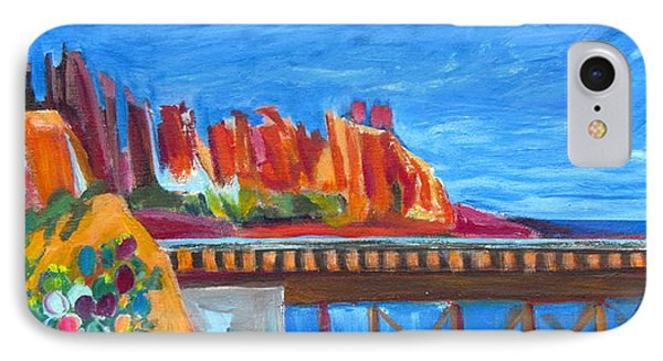 Red Rocks And Railroad Trestle IPhone Case by Betty Pieper