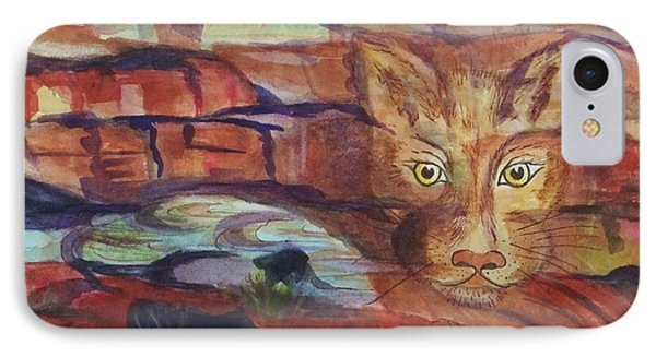 Red Rocks Mountain Lion - Surreal Abstract IPhone Case by Ellen Levinson